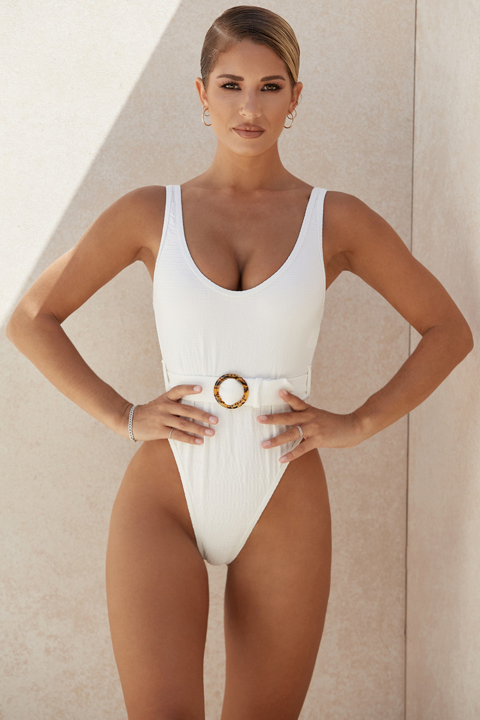 Montego White Crinkle One Piece Swimsuit