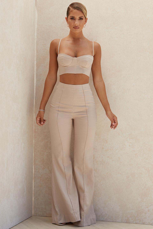 Alesha Beige Tencel Linen Trousers