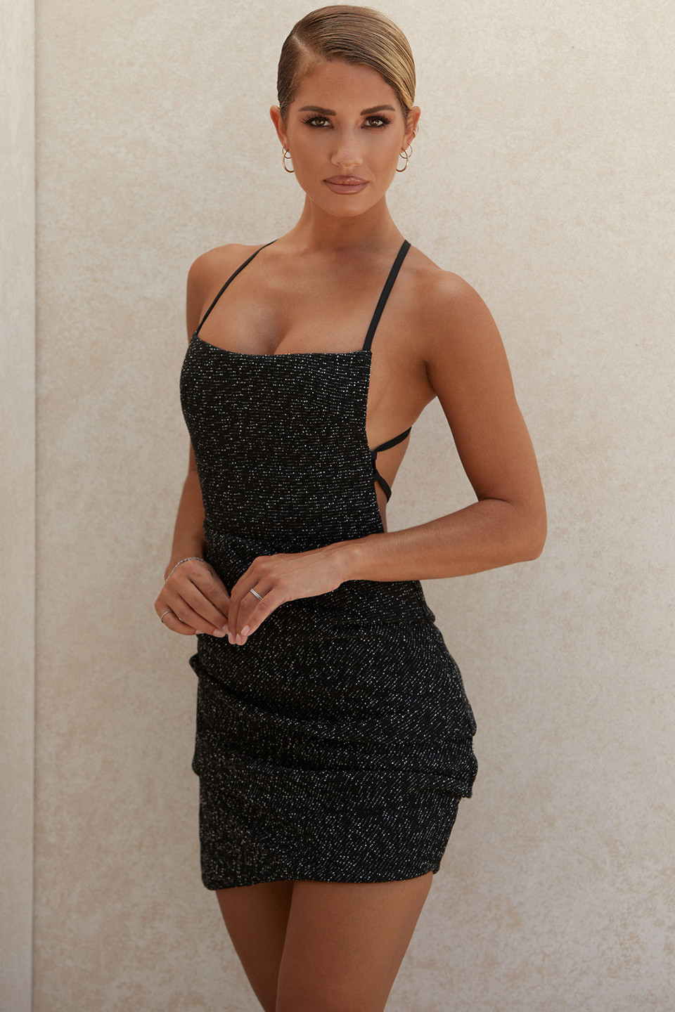 Rheanna Black Boucle Draped Mini Dress