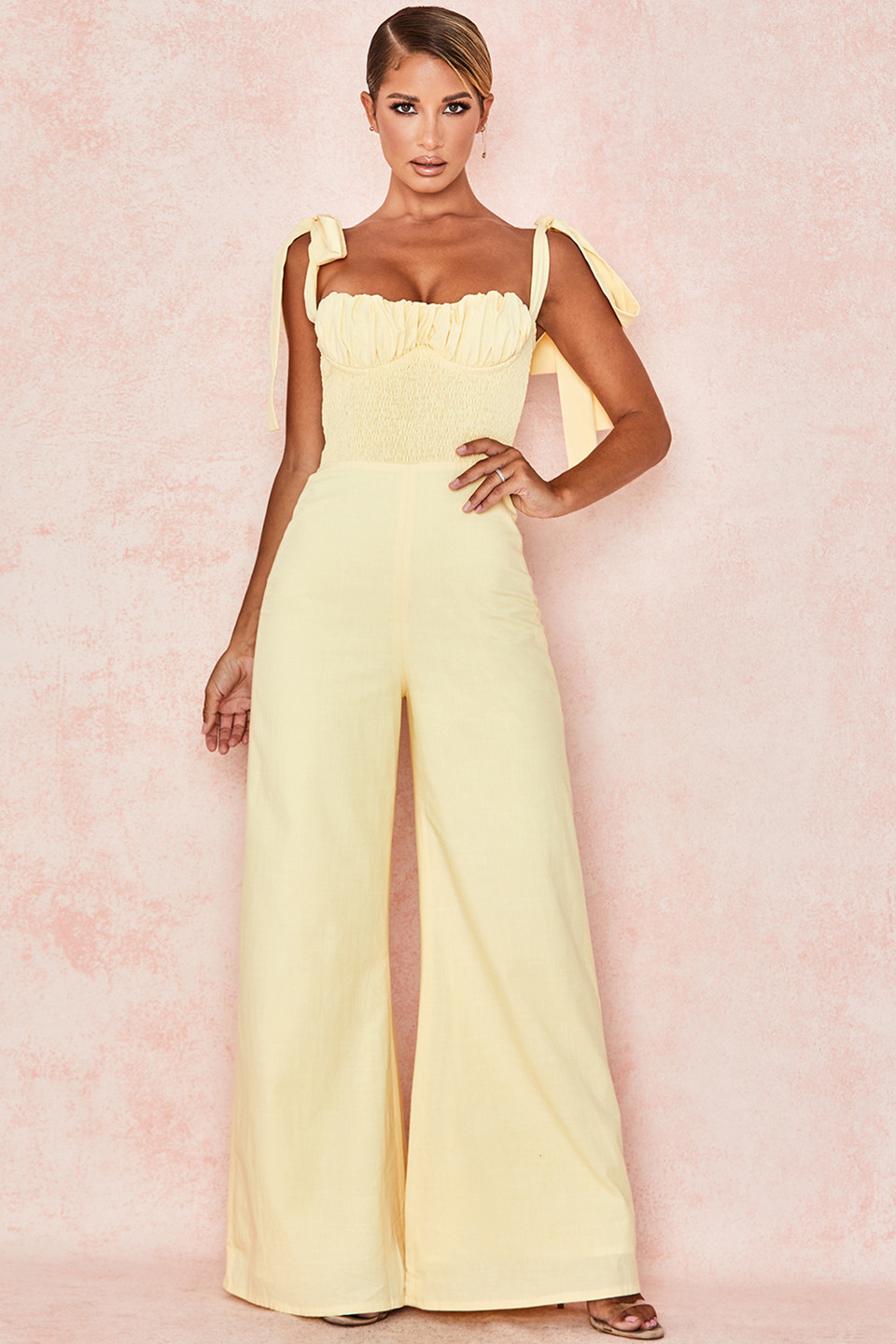 Rommi Lemon Linen Mix Shirred Jumpsuit