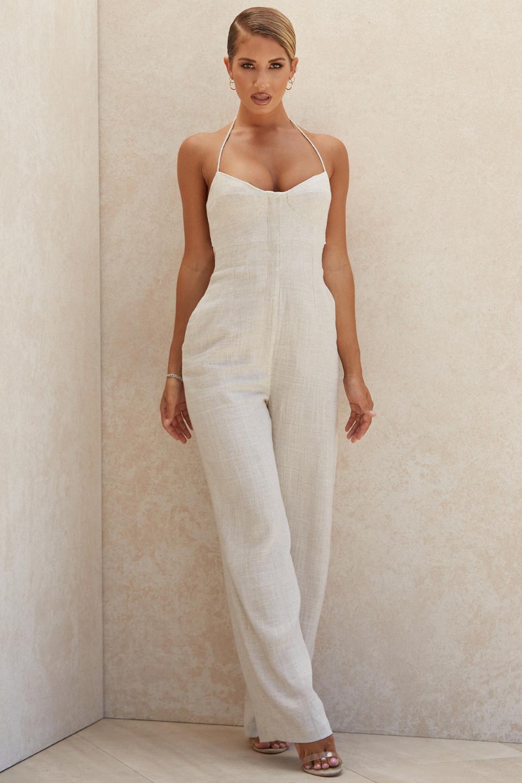 Sancia Oatmeal Linen Mix Jumpsuit