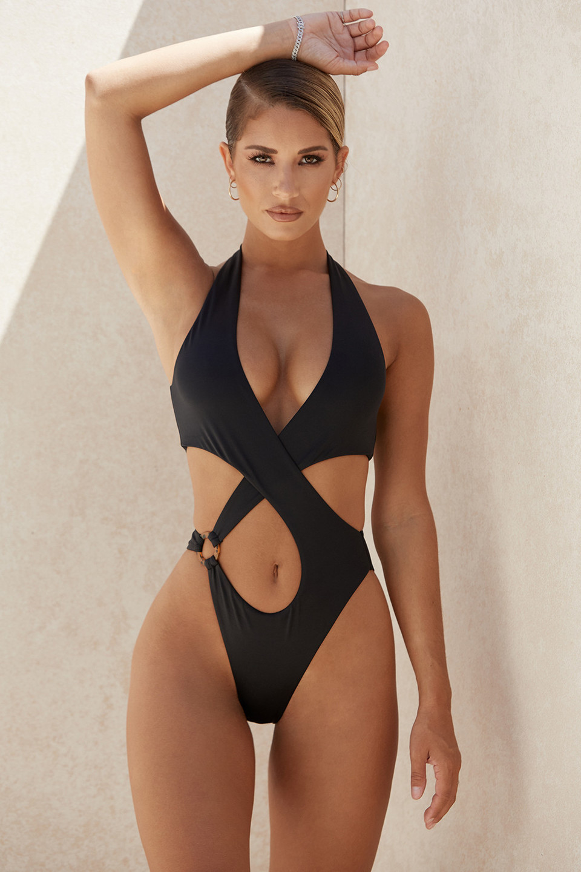 Savannah Black Crossover Halter One Piece Swimsuit