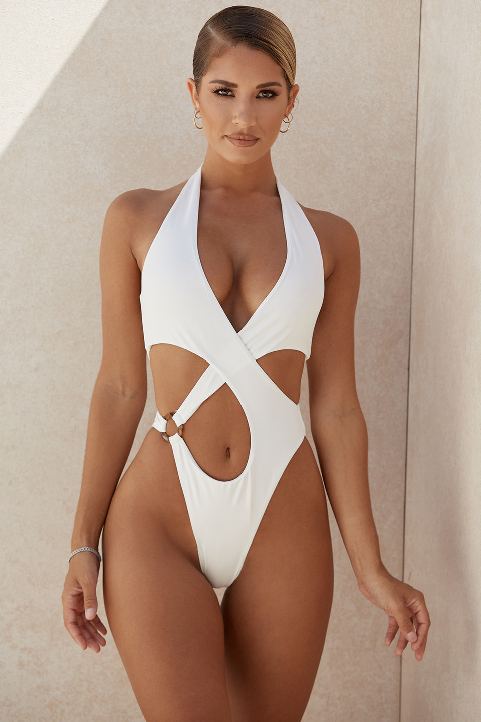 Savannah White Crossover Halter One Piece Swimsuit