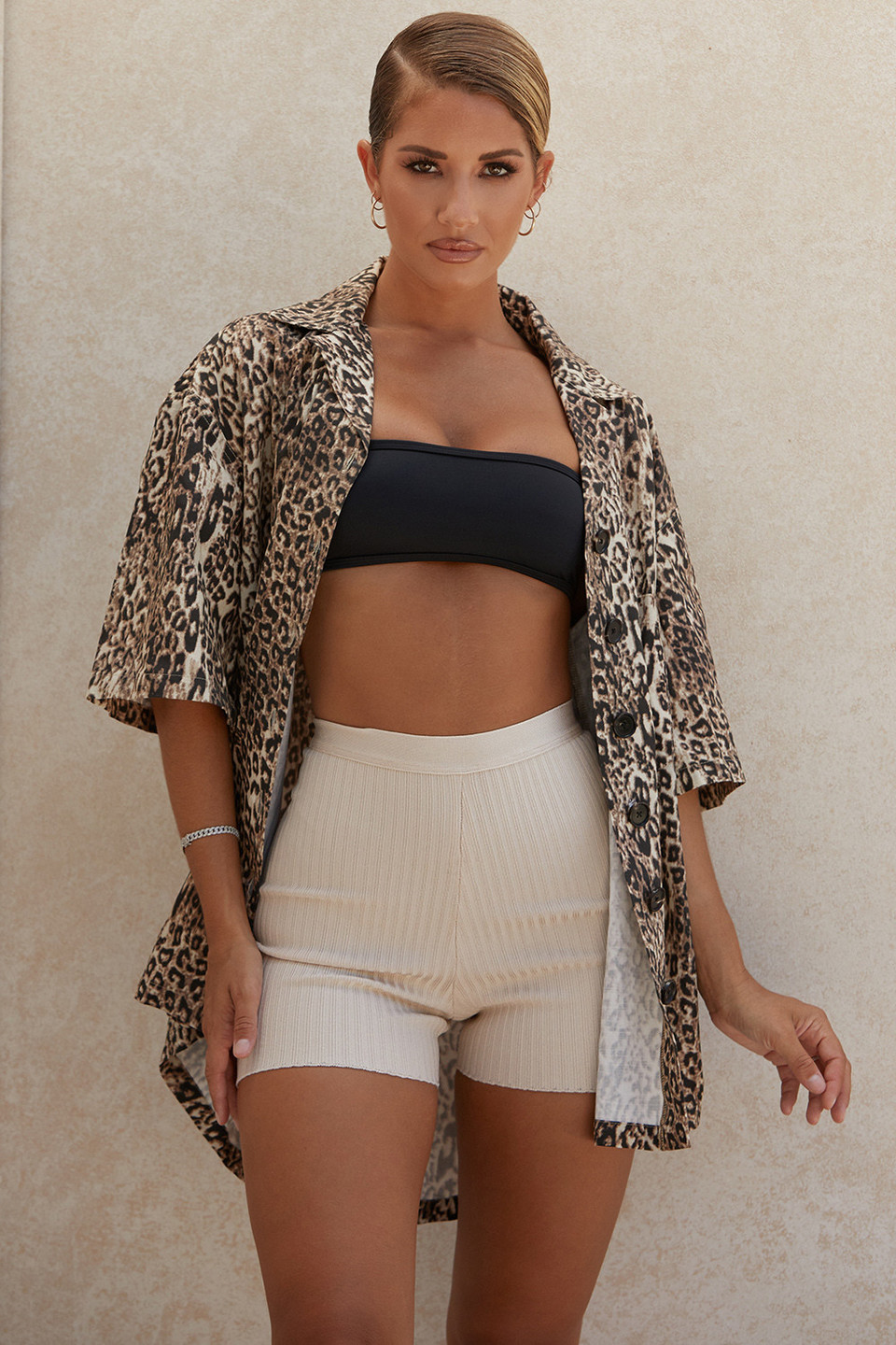 Tara Leopard Beach Cover Up Shirt