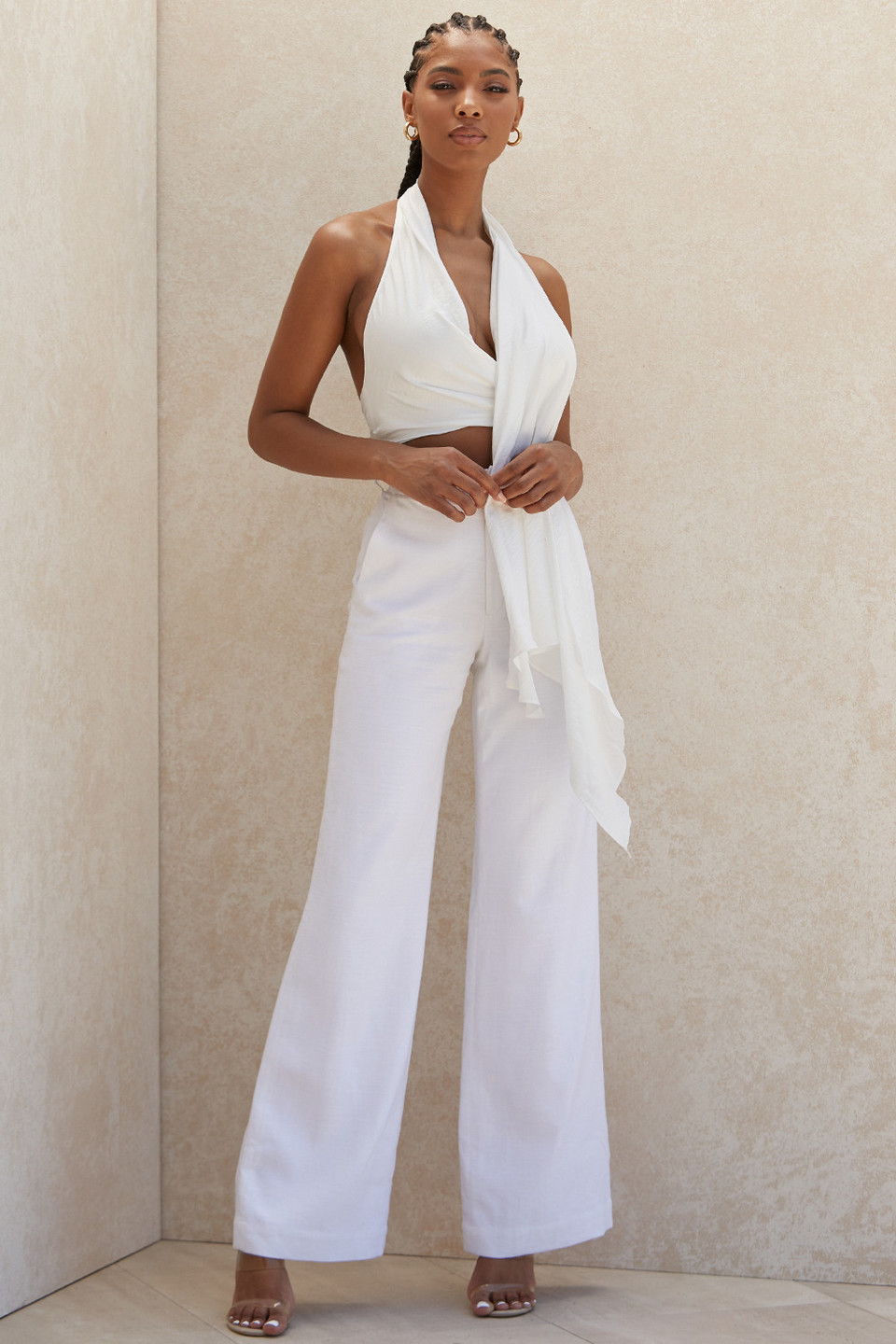 Tasha White Linen Mix Trousers