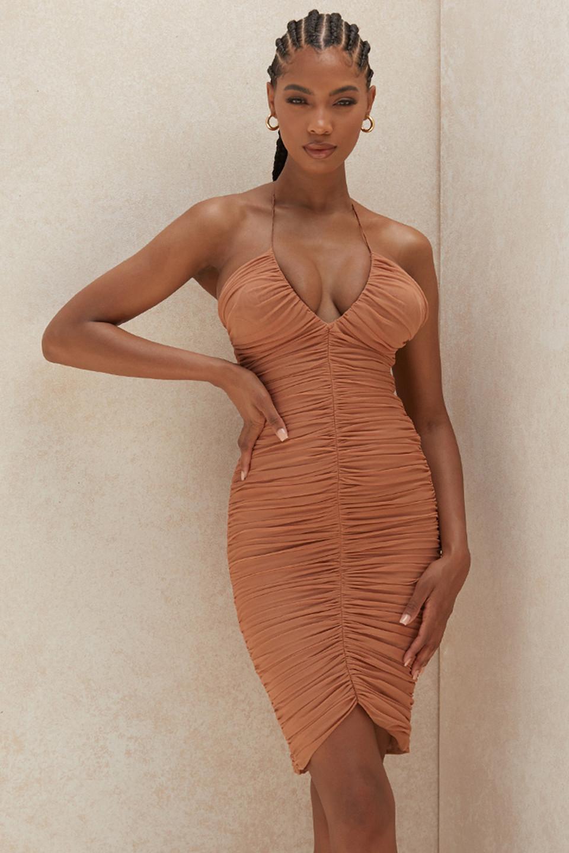 Tiarra Amber Ruched Mesh Midi Dress
