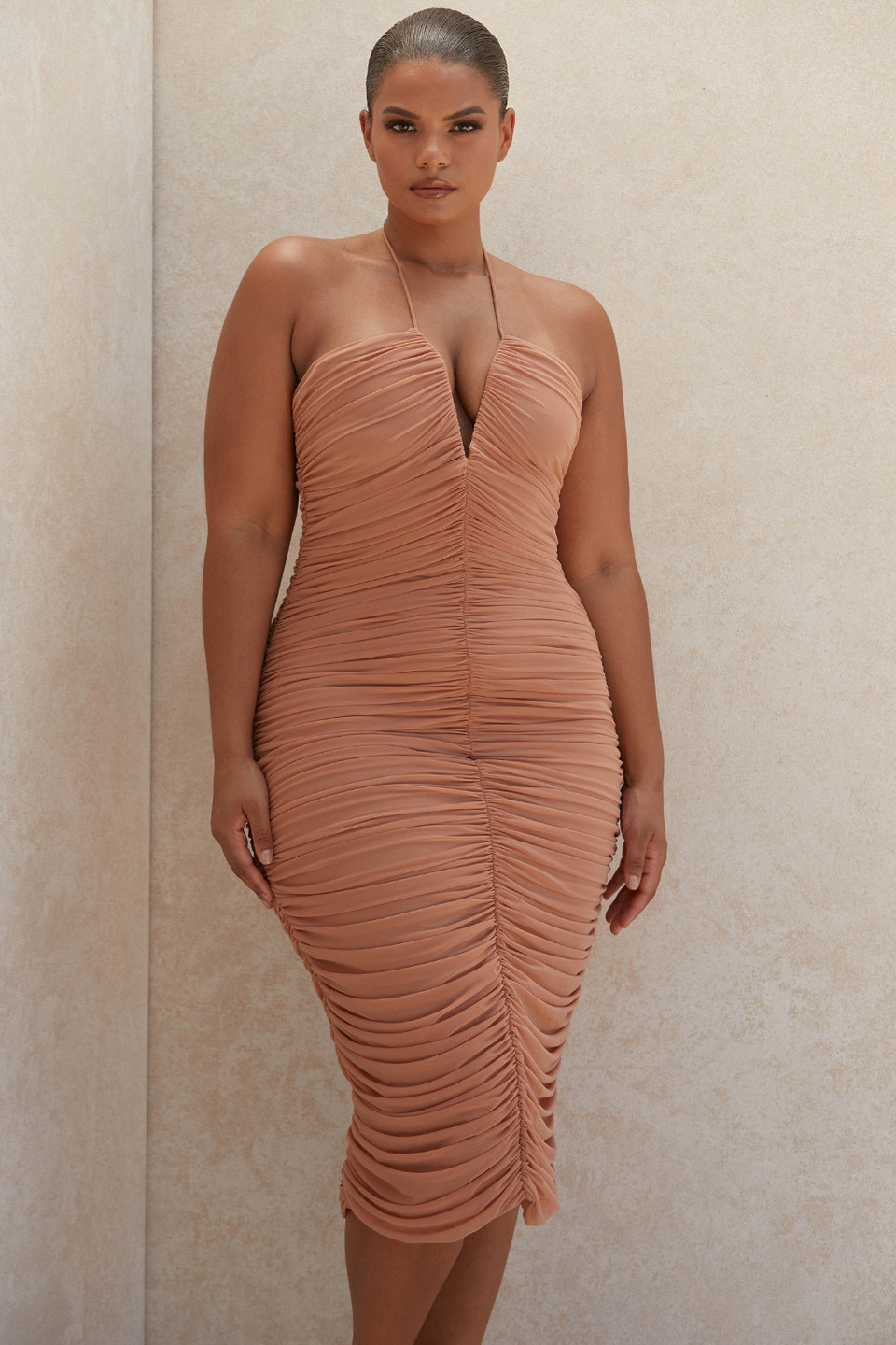 Tiarra Amber Ruched Mesh Midi Dress