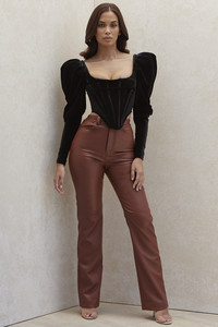 Inaya Tan Stretch Vegan Leather Trousers