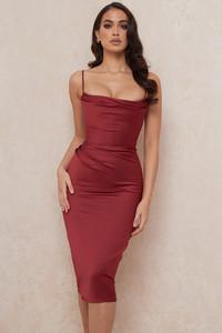Anja Wine Satin Corset Midi Dress