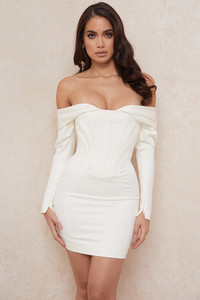 Arista Ivory Satin Corset Mini Dress