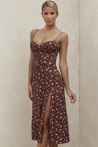 Carina Wine Floral Bustier Midi Dress