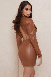 Crystal Tan Backless Blazer Dress