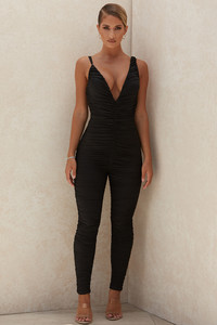Delilah Black Mesh Ruched Jumpsuit