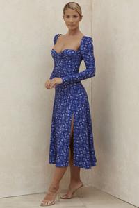 Gaia Sapphire Floral Puff Sleeve Midi Dress