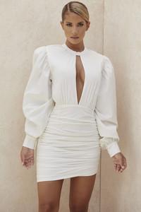 Lakisha White Balloon Sleeve Mini Dress