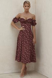 Lauren Wine Floral Strapless Midi Sundress