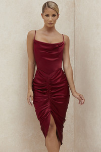 Nera Wine Satin Draped Corset Dress