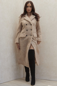 Rana Beige Vegan Shearling Hourglass Coat