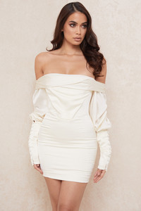 Santana Ivory Draped Corset Dress