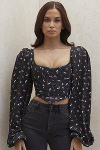 Jouca Black Floral Corset Top