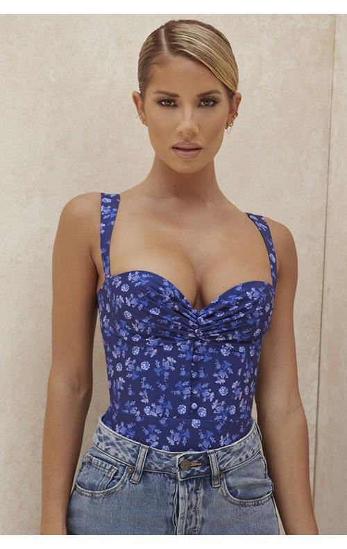Savia Sapphire Floral Print Bodysuit
