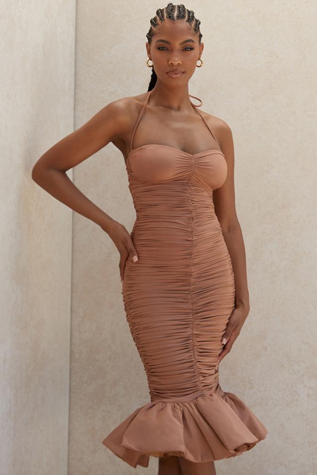 Claudine Tan Ruffle Midi Dress