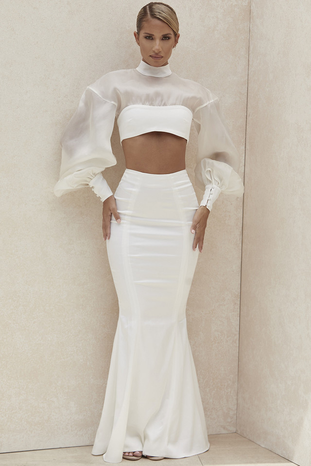 Daphne Ivory Fit and Flare Maxi Skirt