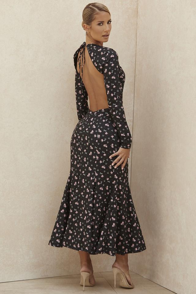 Octavia Black Floral Backless Midi Dress