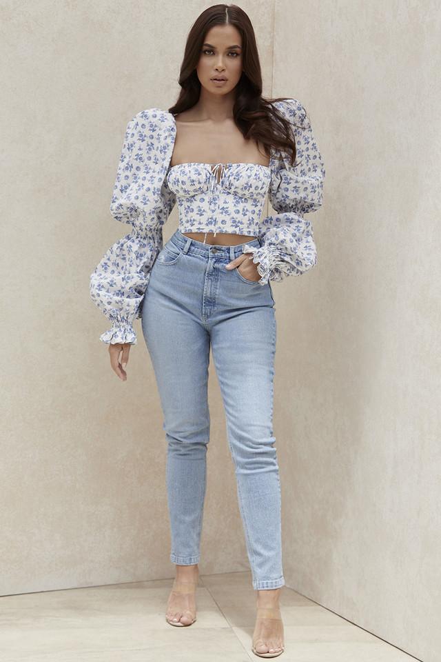 Bria Pale Blue High Waist Denim Jeans
