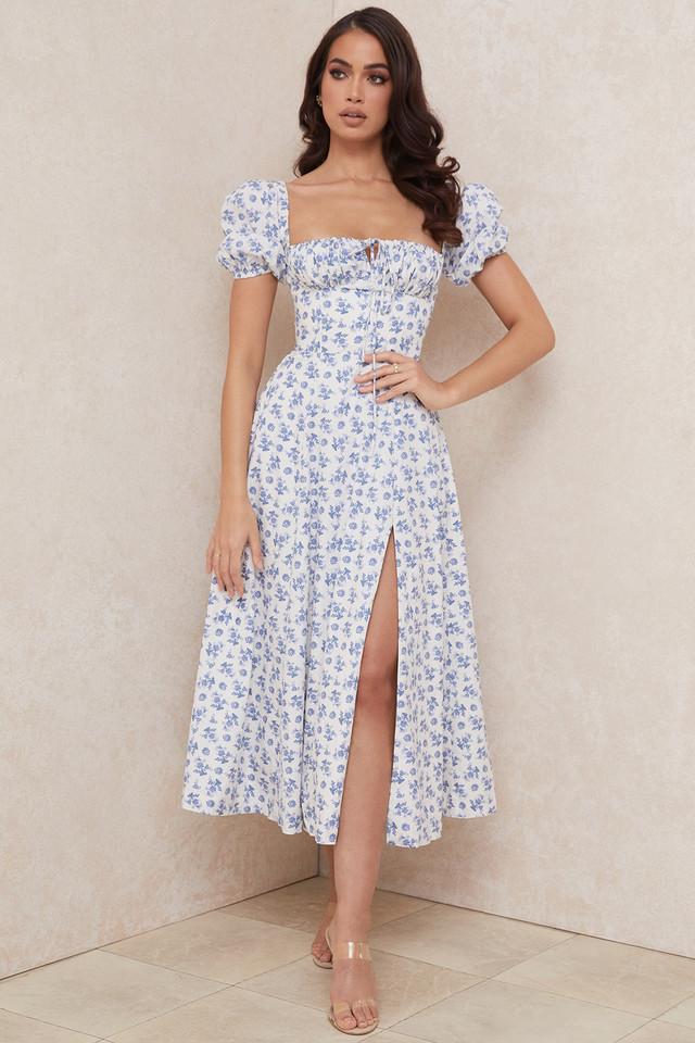 Tallulah Blue White Floral Midi Dress