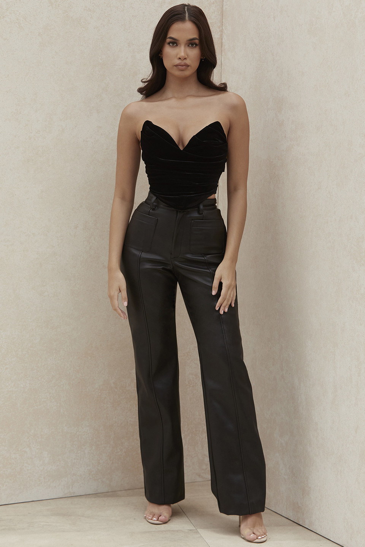 Grainne Black Vegan Leather Trousers