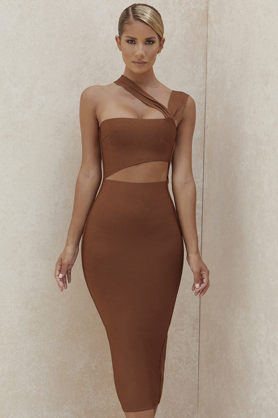 Aina Tan Cut Out Bandage Midi Dress