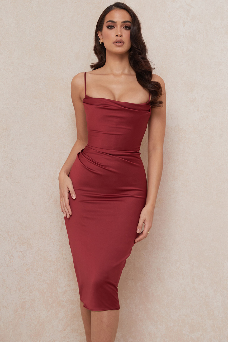 Anja Wine Satin Corset Midi Dress
