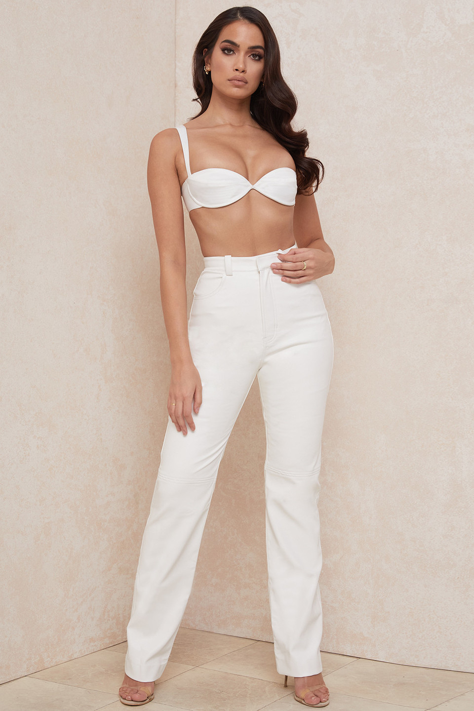 Inaya White Stretch Vegan Leather Trousers