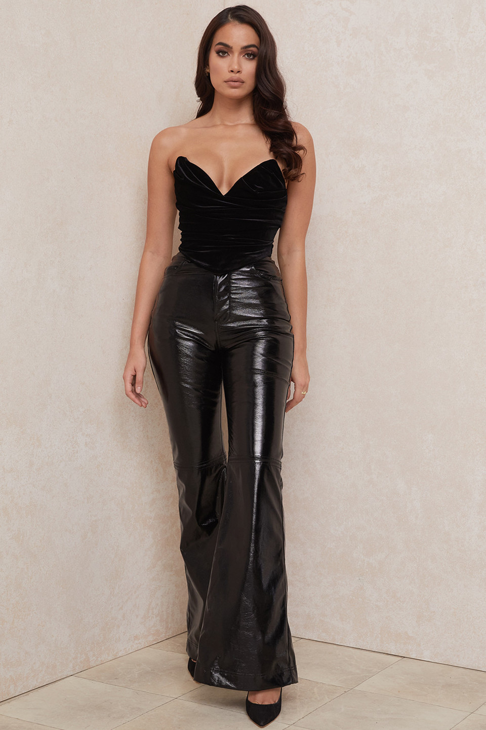 Saffy Black Vegan Leather High Waisted Trousers