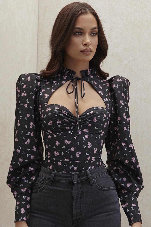 Ruby Black Floral High Necked Corset Bodysuit