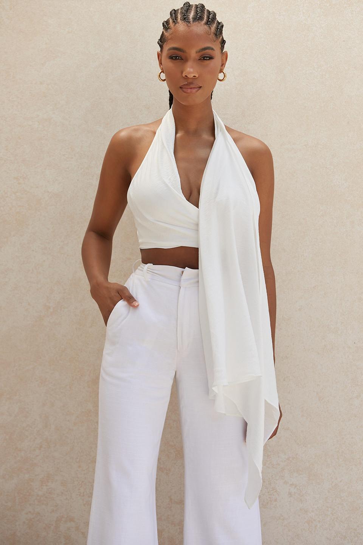Ephrasia White Drape Top