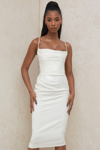 Anja Ivory Satin Corset Dress