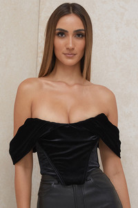 Athena Black Velvet Draped Shoulder Corset Top