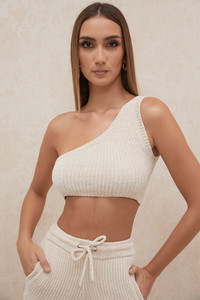 Charlie Cream Chenille One Shoulder Crop Top