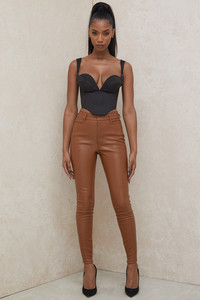 Cora Tan Vegan Leather Trousers