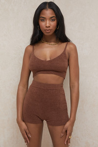 Elijah Chocolate Fluffy Knit High Waisted Shorts