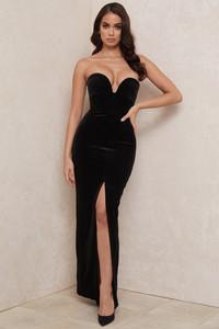 Mariella Black Velvet Strapless Maxi Gown