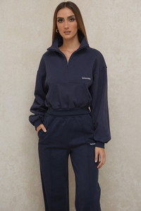 Mitch Navy Cropped Zip Front Sweatshirt