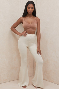 Rodelle Cream Chunky Ribbed Knit Trousers