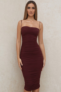 Sirene Raisin Gathered Organza Mesh Dress