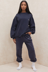 Cloud Navy Brushback Jogging Trousers