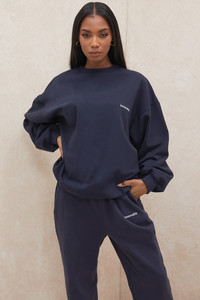 Tommy Navy Oversized Crewneck Sweatshirt