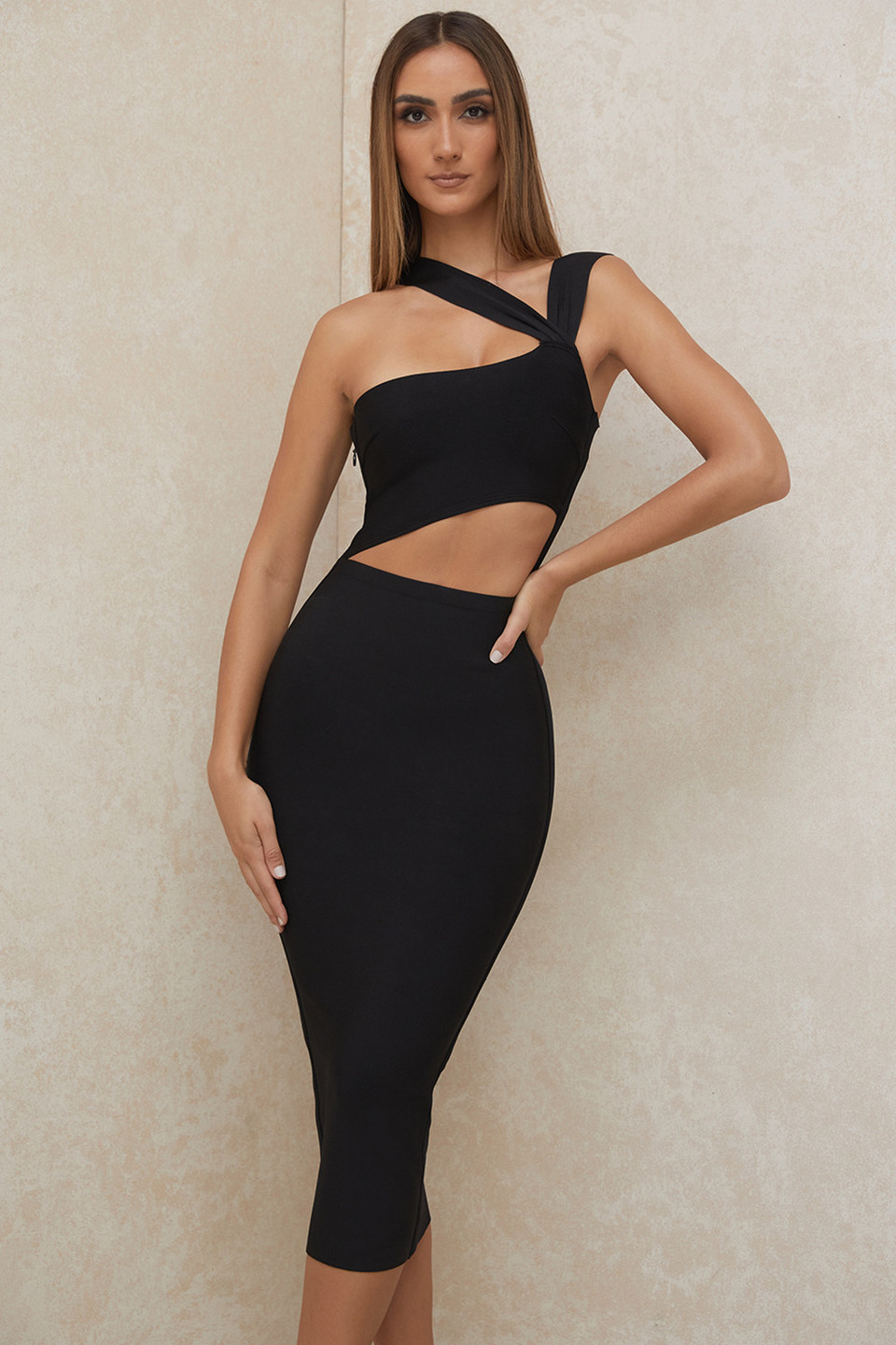 'Aina' Black Cut Out Bandage Midi Dress