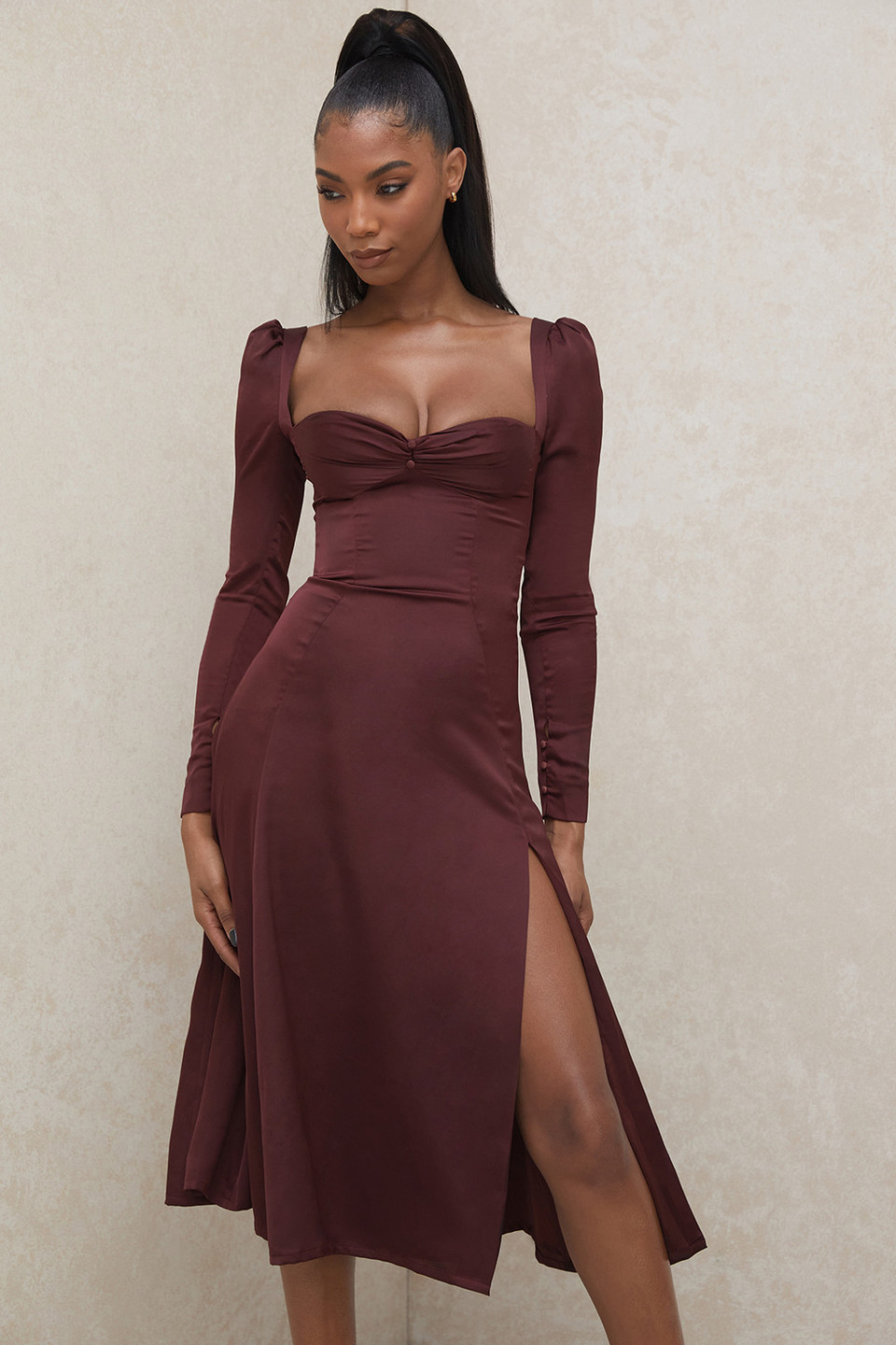Arlinda Raisin Satin Puff Sleeve Midi Dress